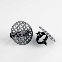 2 embrasses pince (0) 7 cm metal peint rondoline Noir