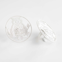 2 embrasses pince (0) 8 cm metal peint gufo Blanc