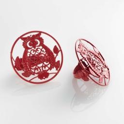 2 embrasses pince (0) 8 cm metal peint gufo Rouge