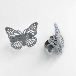 2 embrasses pince 6.8 x 8.5 cm metal patine papilio Gris/Argent