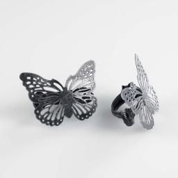 2 embrasses pince 6.8 x 8.5 cm metal patine papilio Noir/Argent