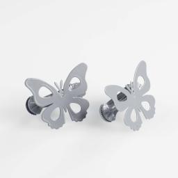 2 embrasses pince 7 x 5.8 cm metal peint papillando Gris