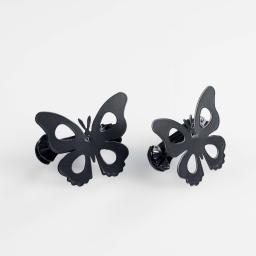 2 embrasses pince 7 x 5.8 cm metal peint papillando Noir