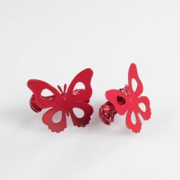 2 embrasses pince 7 x 5.8 cm metal peint papillando Rouge