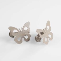 2 embrasses pince 7 x 5.8 cm metal peint papillando Taupe