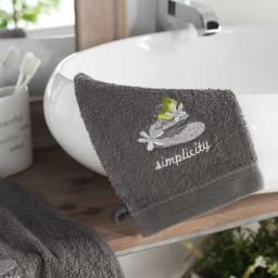 2 gants de toilette 15 x 21 cm eponge brodee mineral Anthracite