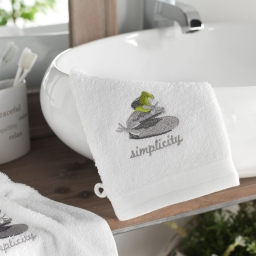 2 gants de toilette 15 x 21 cm eponge brodee mineral Blanc