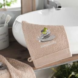 2 gants de toilette 15 x 21 cm eponge brodee mineral Taupe