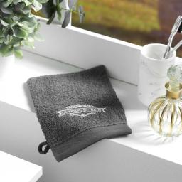 2 gants de toilette 15 x 21 cm eponge brodee vintage Anthracite