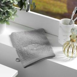 2 gants de toilette 15 x 21 cm eponge brodee vintage Gris