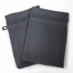 2 gants de toilette 15 x 21 cm eponge unie vitamine Anthracite