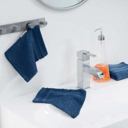2 gants de toilette 15 x 21 cm eponge unie vitamine Bleu nuit