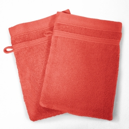 2 gants de toilette 15 x 21 cm eponge unie vitamine Corail