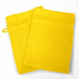 2 gants de toilette 15 x 21 cm eponge unie vitamine Jaune