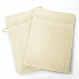 2 gants de toilette 15 x 21 cm eponge unie vitamine Naturel