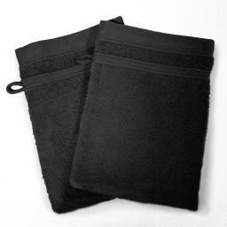 2 gants de toilette 15 x 21 cm eponge unie vitamine Noir
