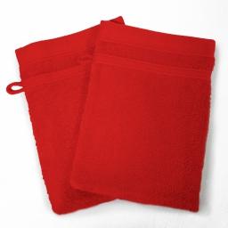 2 gants de toilette 15 x 21 cm eponge unie vitamine Rouge