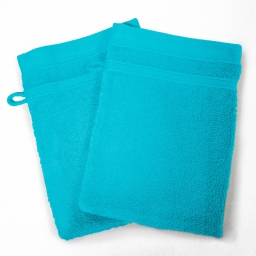 2 gants de toilette 15 x 21 cm eponge unie vitamine Turquoise