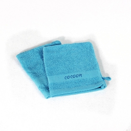2 gants de toilette 16 x 21 cm eponge brodee cocoon Turquoise