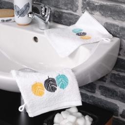 2 gants de toilette 16 x 21 cm eponge brodee fougerys Blanc