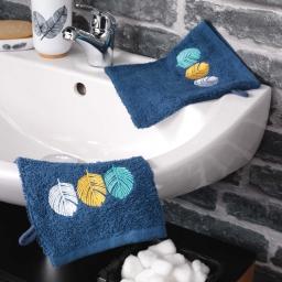 2 gants de toilette 16 x 21 cm eponge brodee fougerys Bleu