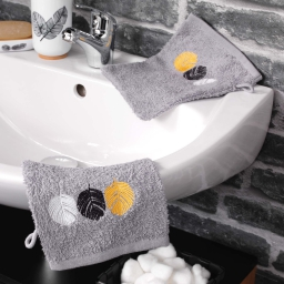 2 gants de toilette 16 x 21 cm eponge brodee fougerys Gris