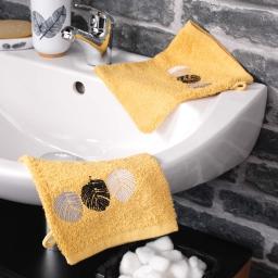 2 gants de toilette 16 x 21 cm eponge brodee fougerys Jaune