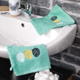 2 gants de toilette 16 x 21 cm eponge brodee fougerys Menthe