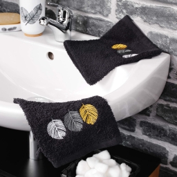 2 gants de toilette 16 x 21 cm eponge brodee fougerys Noir