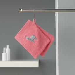 2 gants de toilette 16 x 21 cm eponge brodee lamalima Rose