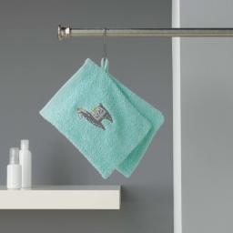 2 gants de toilette 16 x 21 cm eponge brodee lamalima Vert D'eau