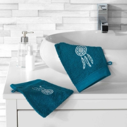 2 gants de toilette 16 x 21 cm eponge brodee talisman Bleu