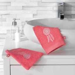 2 gants de toilette 16 x 21 cm eponge brodee talisman Corail