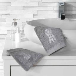 2 gants de toilette 16 x 21 cm eponge brodee talisman Gris