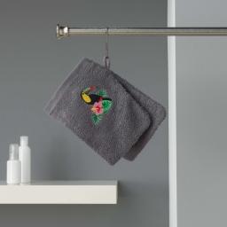 2 gants de toilette 16 x 21 cm eponge brodee toucalaos Anthracite
