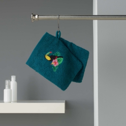 2 gants de toilette 16 x 21 cm eponge brodee toucalaos Bleu