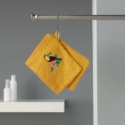 2 gants de toilette 16 x 21 cm eponge brodee toucalaos Jaune