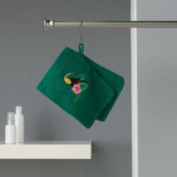 2 gants de toilette 16 x 21 cm eponge brodee toucalaos Vert