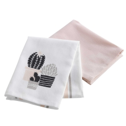 2 torchons 50 x 70 cm coton imprime/uni carlota