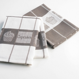 2 torchons 50 x 70 cm coton jacquard 8512 cafe gourmand Taupe