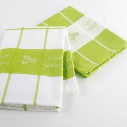 2 torchons 50 x 70 cm coton jacquard 8912 esprit nature Vert
