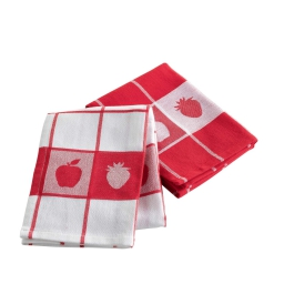 2 torchons 50 x 70 cm coton jacquard charlotine Rouge