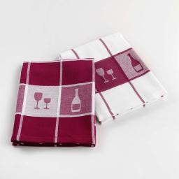 2 torchons 50 x 70 cm coton jacquard grand cru Bordeaux