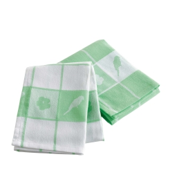 2 torchons 50 x 70 cm coton jacquard perococo Vert