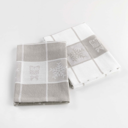 2 torchons 50 x 70 cm coton jacquard sweet winter Lin