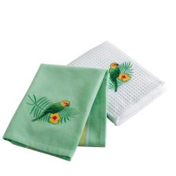 2 torchons 50 x 70 cm coton/nid abeille/brode perococo Vert