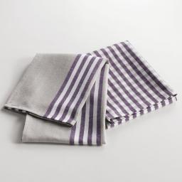 2 torchons 50 x 70 cm coton tisse cave a vin Violet