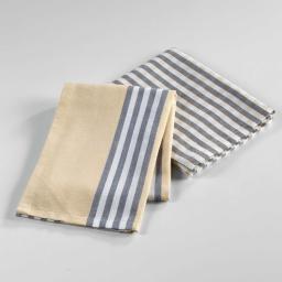 2 torchons 50 x 70 cm coton tisse hearty