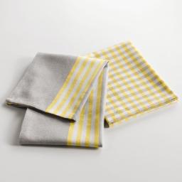 2 torchons 50 x 70 cm coton tisse liberty yellow Jaune