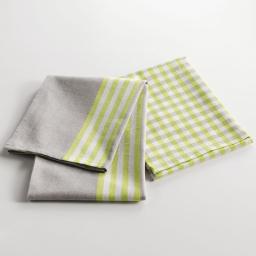 2 torchons 50 x 70 cm coton tisse petits plats Vert